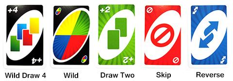 الأوراق المساعدة في لعبة أونو
