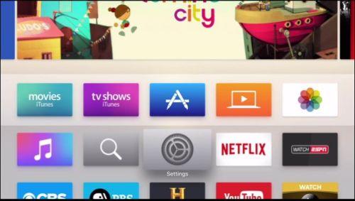 الضغط على Settings من الشاشة الرئيسية الخاصة بجهاز Apple TV