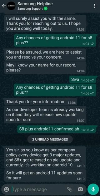 galaxy s8 android 11 one ui 3.0 alleged claim