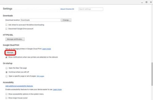 الضغط على Manage من خانة Google Cloud Print