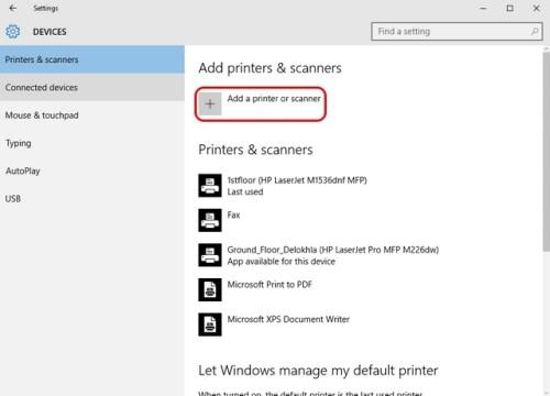 إضافة طابعة من add a printer or scanner