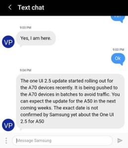 جالكسي A50 تحديث One UI 2.5