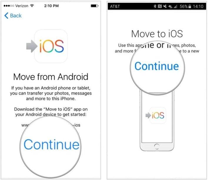 البيانات من اندرويد إلى ايفون من خلال تطبيق Move to iOS 3