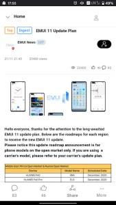 EMUI 11 update timeline announcement