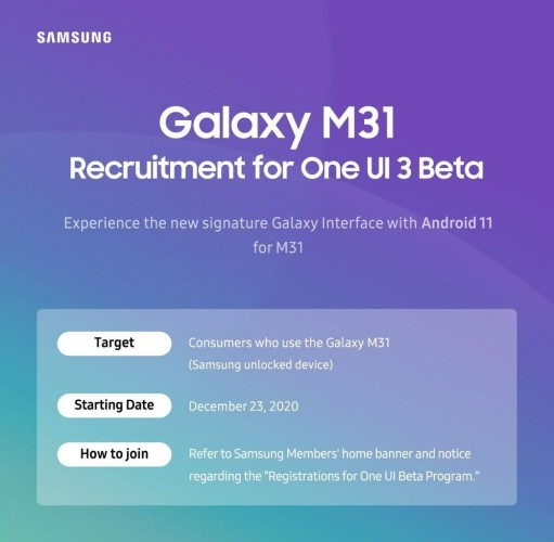 Galaxy M31 Android 11 Beta