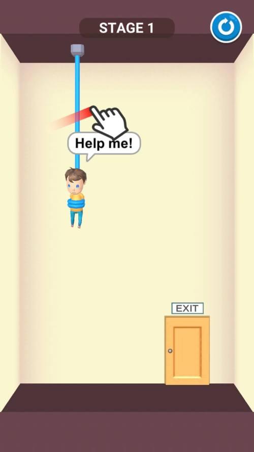 بدء المستوى الأول في لعبة Rescue Cut