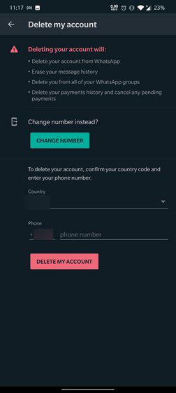 صفحة Delete my account