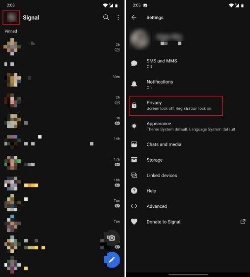الضغط على Privacy بعد الضغط على أيقونة الصورة الشخصية في تطبيق سيجنال