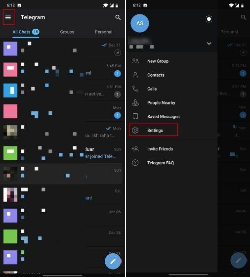 الضغط على Settings في تطبيق Telegram