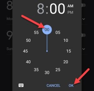تحديد الساعة والضغط على كلمة OK لسماع توقعات الطقس باستخدام المنبه
