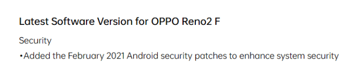 Oppo Redo 2F February 2021 Android security patche update