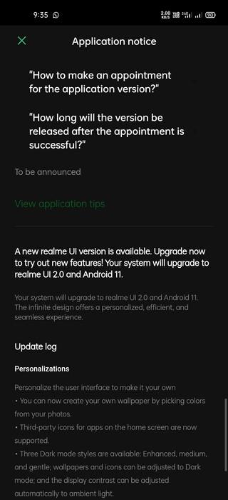 realme 7 open beta application