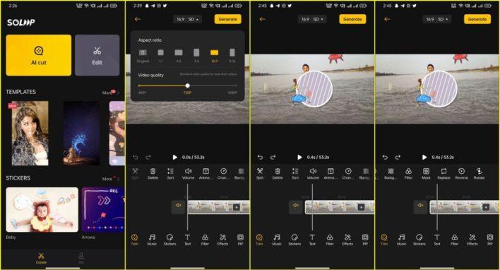 تحرير الفيديو على تطبيق Soloop
