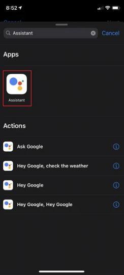 إضافة اختصار تطبيق مساعد جوجل لتطبيق Shortcut