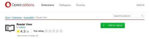 إضافة Reader View لمتصفح اوبرا