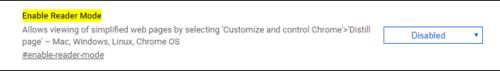الضغط على مربع Disabled لتفعيل وضعية القراءة في متصفح جوجل كروم