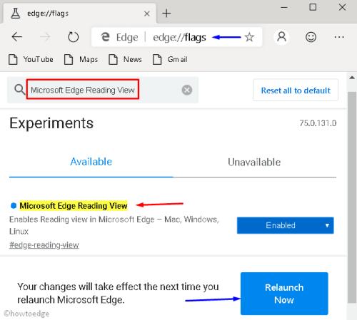 اختيار Microsoft Edge Reading View لتفعيل عرض القارئ في إيدج