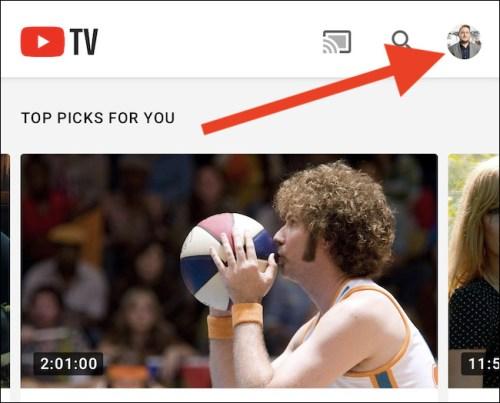 الضغط على أيقونة حسابك في اليوتيوب
