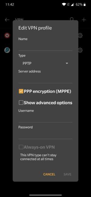 تشغيل VPN بدون برامج