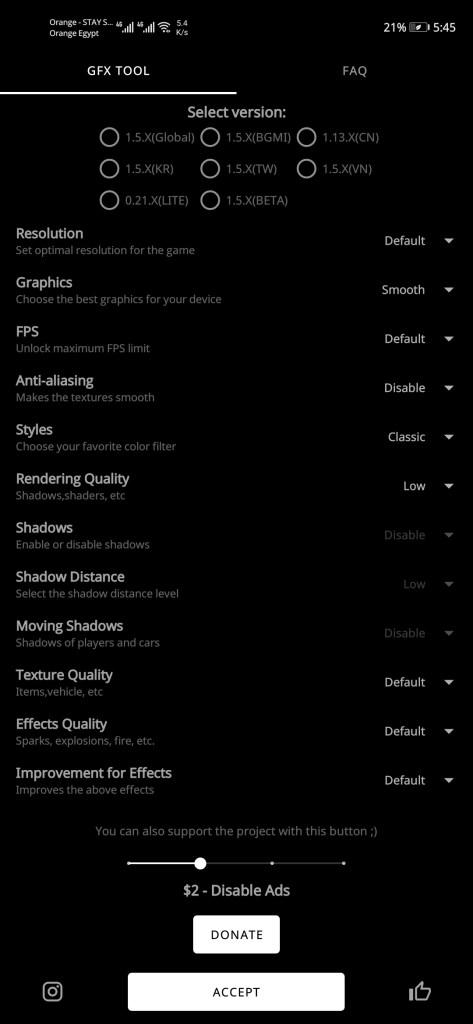تفعيل الإعدادات بواسطة أداة GFX Tool للعبة ببجي