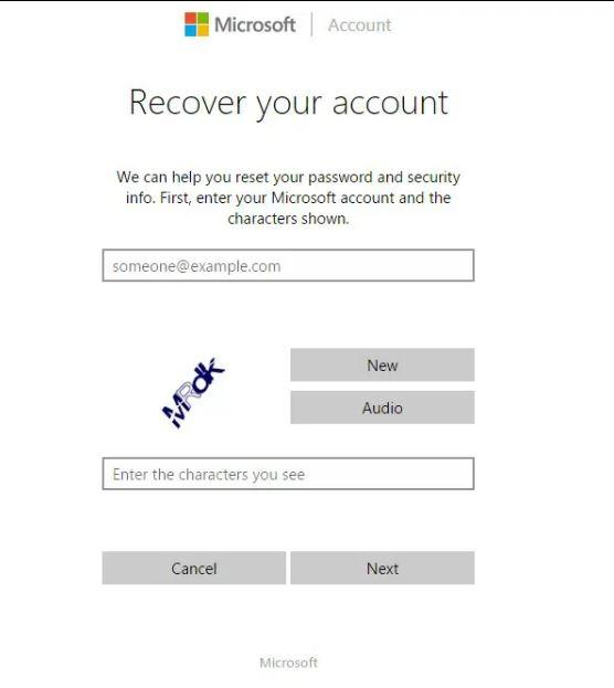 اعادة تعيين كلمة مرور حساب ميكروسوفت