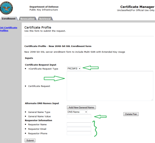 DoD Certificate Manager Profile Page