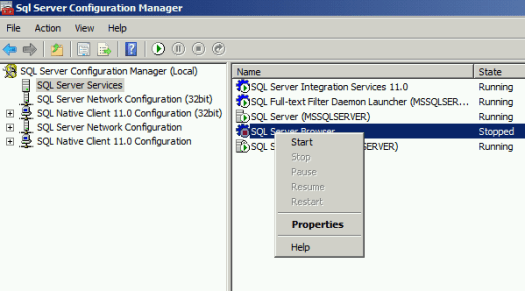 SQL Server Browser SQL Configuration Manager Start