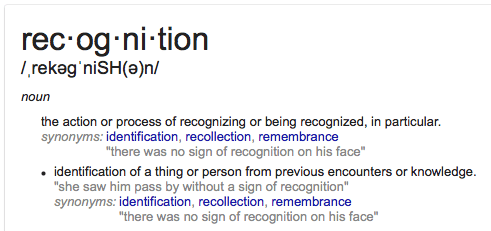 Defintion of Recognition