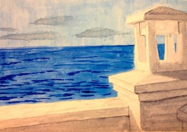 View of the Red Sea, Watercolor on Paper, Mohammed Shamma, 2013