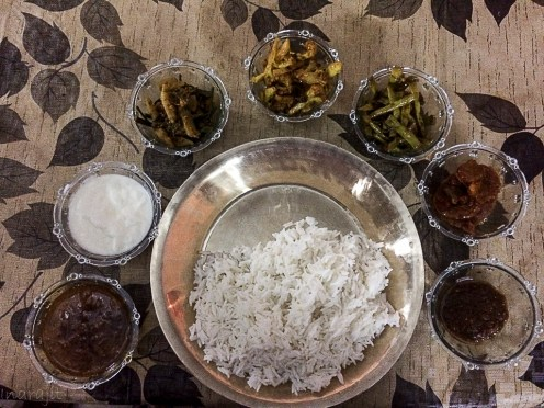The sikkimese thali served by the staff on request