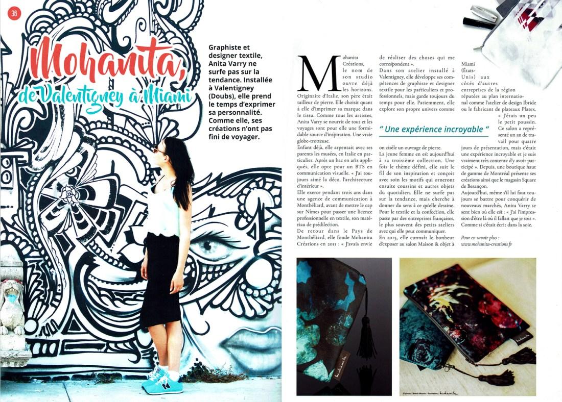 article double page carnets comtois mohanita creations de valentigney à miami graphiste et designer textile expérience wynwwod coussins et accessoires féminins pochettes motifs pattern