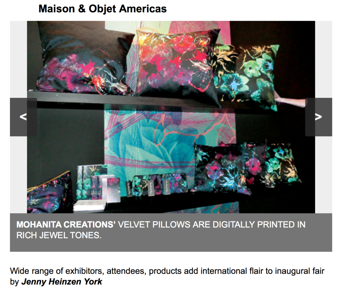 home accents article maison et objets miami 2015 paris coussins velours impression numérique digital printing home accents