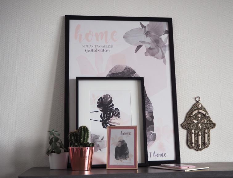 décoration console grise contemporaine affiche poster papeterie collaboration pauline dress univers pastel tropical tendances blog blogueuse besançon