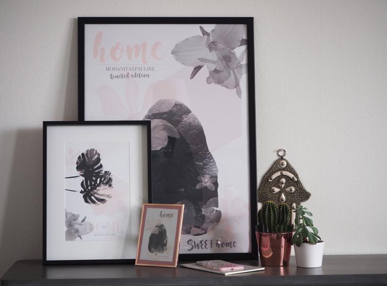 lot de trois affiches cartes postales rose poudre gris monstera cadre maison du monde hem cactus karma décoration console