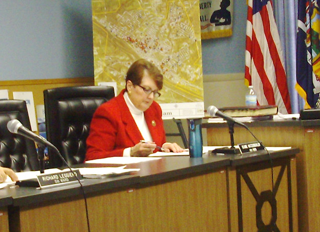 Alderwoman Diane Hatzenbuhler during first meeting of City of Amsterdam Common Council. Photo by Daniel T. Weaver.