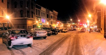 Main Street on Monday evening. Photo by Tim Becker.
