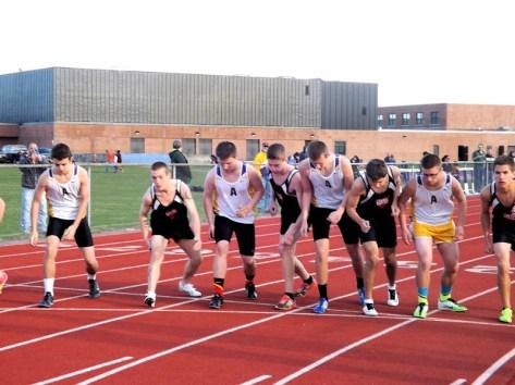 Start of the boys 3200 meter run