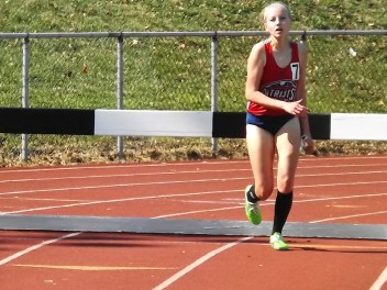 Cadey Nolan in the steeplechase. Photo by Scott Mulford.