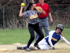 Ella Dybas making a play at second base