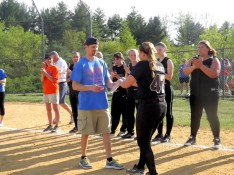 Dan Papierniak presents the defensive MYP to Allie Krohn