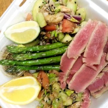 Searded Ahi Tuna with Asparagus and Shrimp Salad