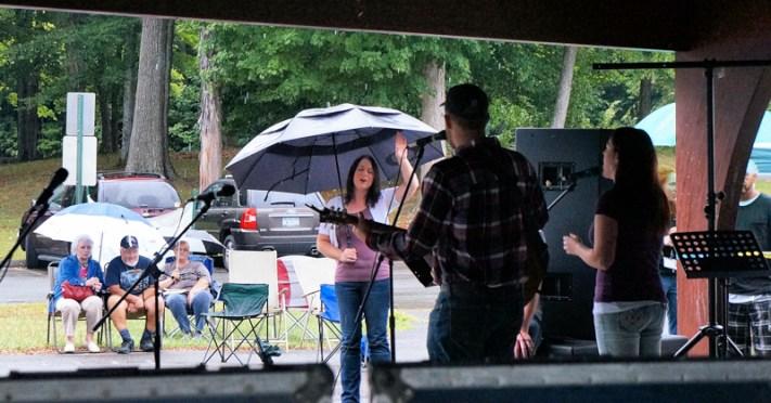 Festival goers brave the rain at Shuttleworth Park