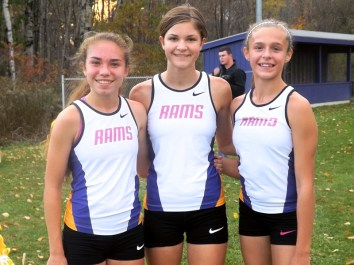 AHS girls top finishers, Olivia Lazarou, Chantel Dopp, Kayla Sondrup