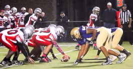 Donte Edwards #54 at the front of the AHS defense