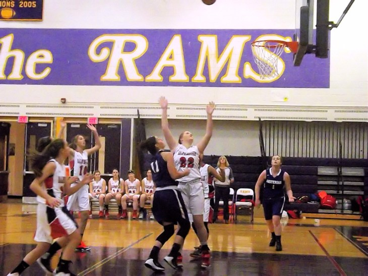 A shot by Nina Fedullo heads to the rim
