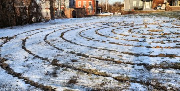 Stones removed from labyrinth, January 7, 2015. Photo by Tim Becker.