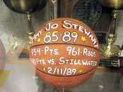 Amy Jo Stewart's ball in the AHS trophy case