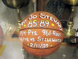 Amy Jo Stewart's ball in the AHS trophy case