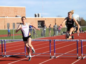 Gabby Stanavich (left) in the hurdles