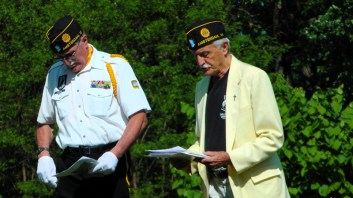 Wayne Liberis, Post 701 commander, Ed Majewski, chaplain